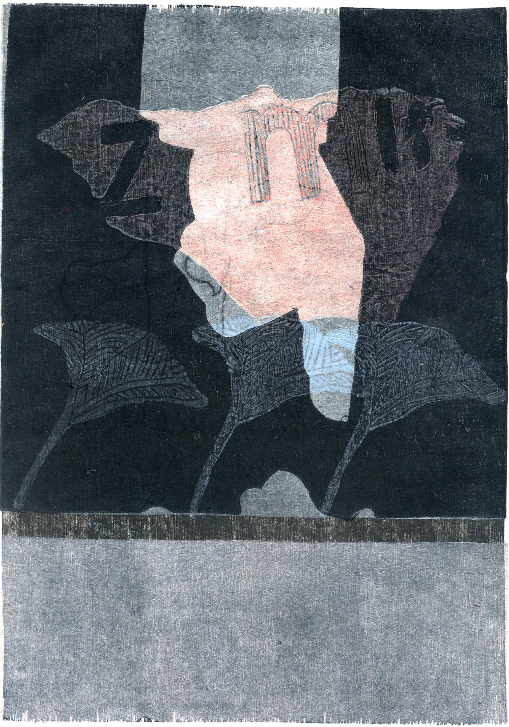 Blue fingers. 21 x 30 cm. 1/1 Woodcut. 2007. Sold